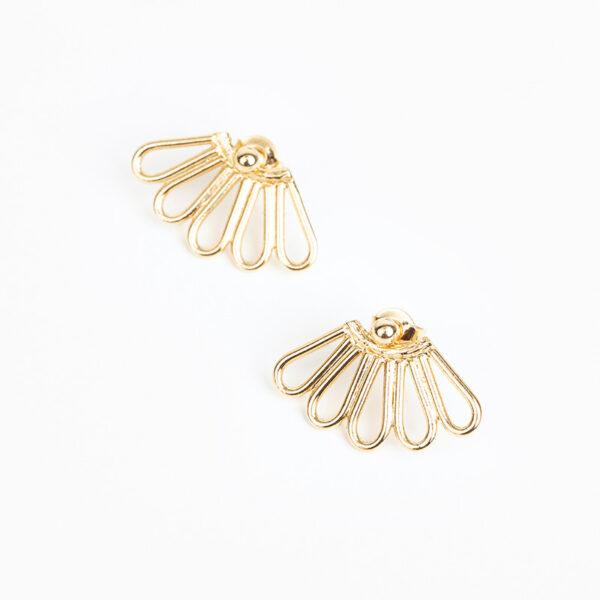 Boucles d'oreilles fines puce Liane dorée de forme abstraite