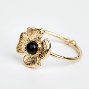 Laparitaine Bague Azalée en or fin, ajustable, feuille d'or, pierre précieuse cabochon en quartz noir collections création bijoux