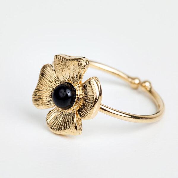 Bague Azalée en or fin, ajustable, feuille d'or, pierre précieuse cabochon en quartz noir collections création bijoux