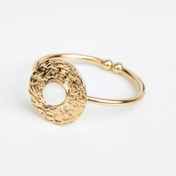 Bague Sophia en or fin, ajustable, feuille d'or, pierre précieuse en nacre blanche