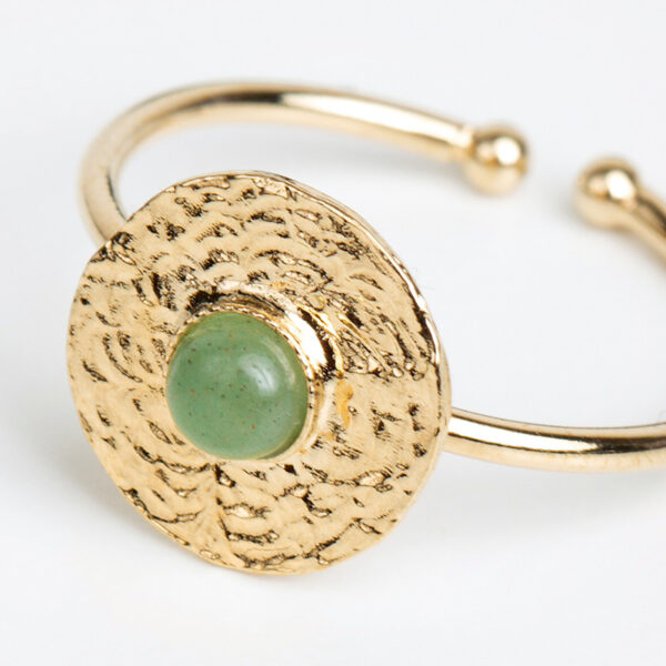 Bague Sophia en or fin, ajustable, feuille d'or, pierre précieuse en jaspe verte, détails
