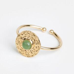 Laparitaine Bague Sophia en or fin, ajustable, feuille d'or, pierre précieuse en jaspe verte