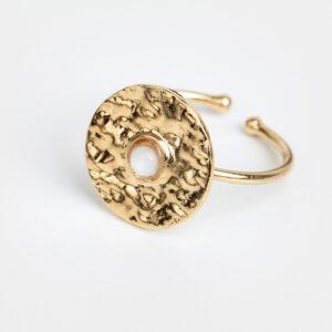 Laparitaine Bague Clara en or fin, feuille d'or, pierre précieuse en nacre