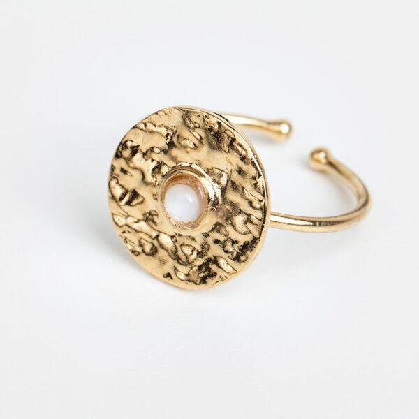 Bague Clara en or fin, feuille d'or, pierre précieuse en nacre