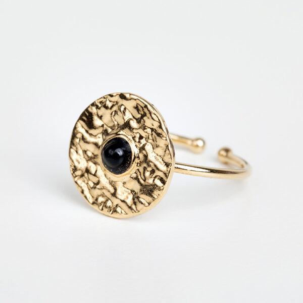 Laparitaine Bague Clara en or fin, feuille d'or, pierre précieuse en quartz noir