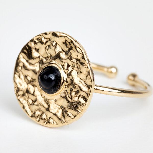 Laparitaine Bague Clara en or fin, feuille d'or, pierre précieuse en quartz noir, détails