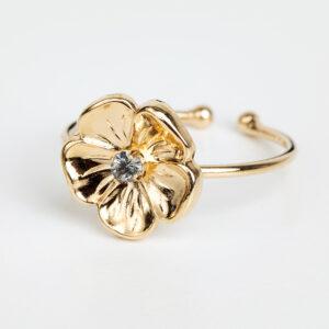 Laparitaine Bague Éloïse en or fin, ajustable, fleurs, cristal Swarovski, détails