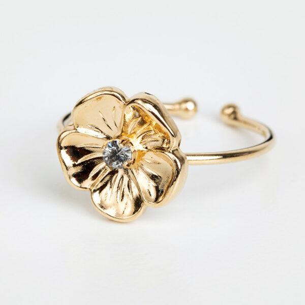 Bague Éloïse en or fin, ajustable, fleurs, cristal Swarovski, détails