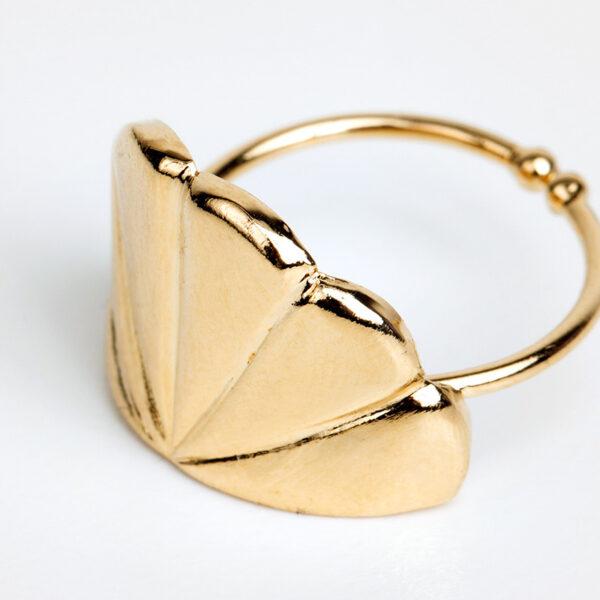 Bague Iris en or fin, ajustable, forme coquillage, détails profil