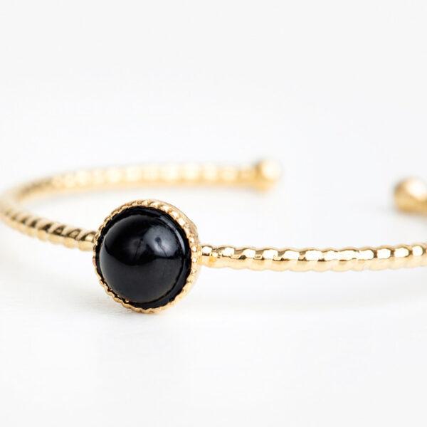 Laparitaine Bague Zoé en or fin, ajustable, pierre précieuse en quartz noir, détails