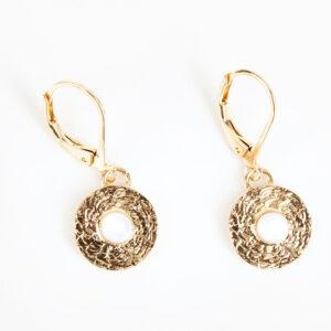 Paire de boucles d'oreilles pendantes Sophia fine, or fin et pierre précieuse en nacre