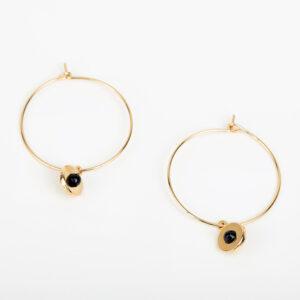 Paire de boucles d'oreilles créoles Andréa fine, or fin et pierre précieuse en quartz noir