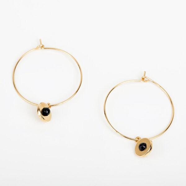 Laparitaine Paire de boucles d'oreilles créoles Andréa fine, or fin et pierre précieuse en quartz noir