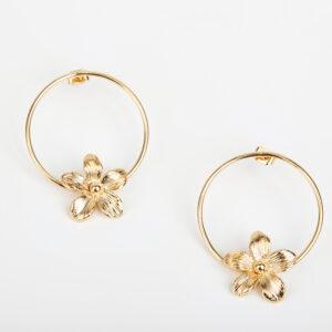 Laparitaine Paire de boucles d'oreilles créoles Varda fine, or fin et fleurs