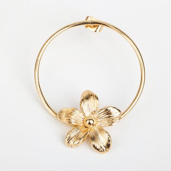 Laparitaine Boucles d'oreilles créoles fines Varda, or et fleur, détails