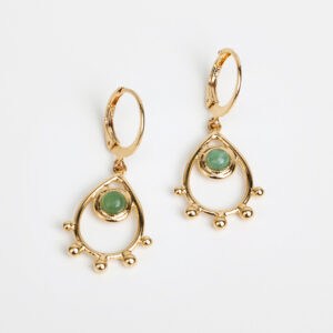 Paire de boucles d'oreilles pendantes Jasmine fine, or fin et pierre précieuse en jaspe collections création bijoux