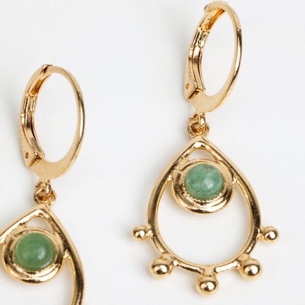 Paire de boucles d'oreilles pendantes Jasmine fine, or fin et pierre précieuse en jaspe, détails