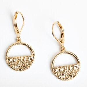 Paire de boucles d'oreilles créoles Léna, dorée à l'or fin, feuille d'or