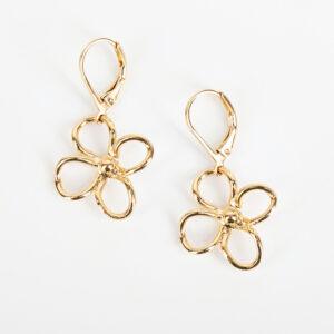 Laparitaine Paire de boucles d'oreilles pendantes Lia fine, or fin et fleurs