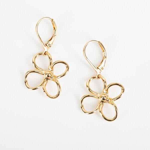 Paire de boucles d'oreilles pendantes Lia fine, or fin et fleurs