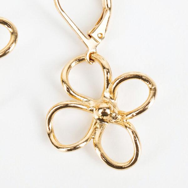 Paire de boucles d'oreilles pendantes Lia fine, or fin et fleurs, détails