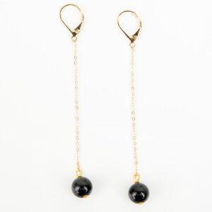 Paire de boucles d'oreilles pendante Sasha or fin et pierre précieuse en quartz noir