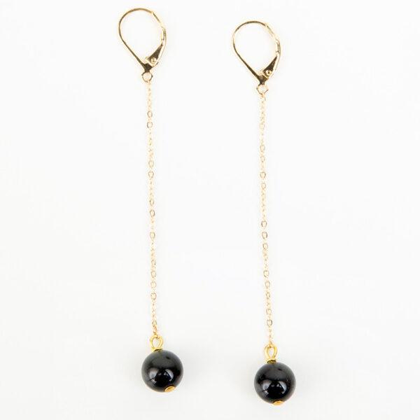 Laparitaine Paire de boucles d'oreilles pendante Sasha or fin et pierre précieuse en quartz noir