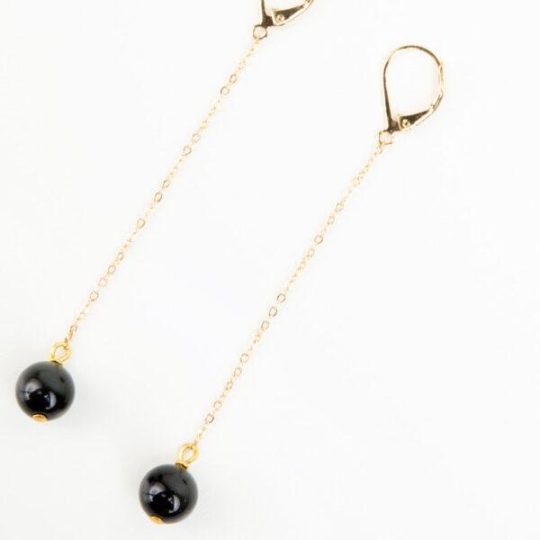 Laparitaine Paire de boucles d'oreilles pendante Sasha or fin et pierre précieuse en quartz noir 2