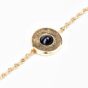 Bracelet Andréa en or fin, chaîne, cabochon pierre précieuse en quartz noir, détails Laparitaine