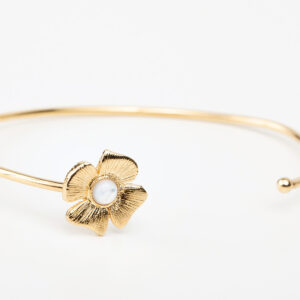Bracelet Azalée en or fin, fleur, pierre précieuse en nacre blanc Laparitaine