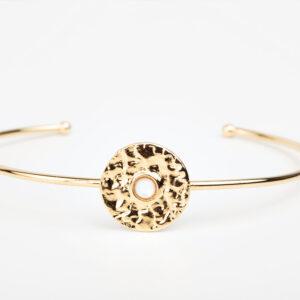 Bracelet Clara en or fin, feuille d'or, pierre précieuse en nacre noir Laparitaine