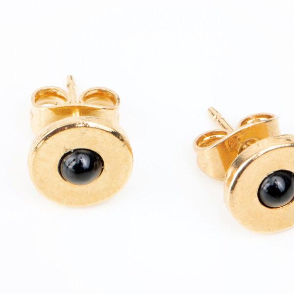 Petites boucles d'oreilles puces Andrea, or et quartz noir, détails